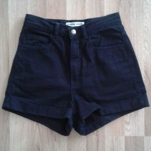 American Apparel Black High Waisted Denim Shorts